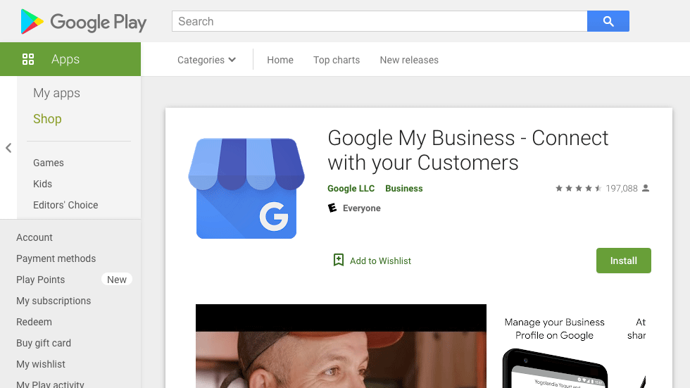 Google Play Sotre - Google My Business App