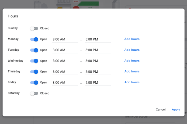 Google My Business: Dashboard Hours