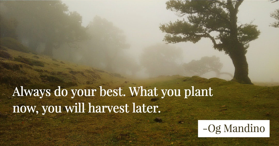Always do your best. What you plant now, you will harvest later. –Og Mandino quote