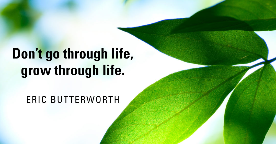 Don't go through life, grow through life. –Eric Butterworth quote