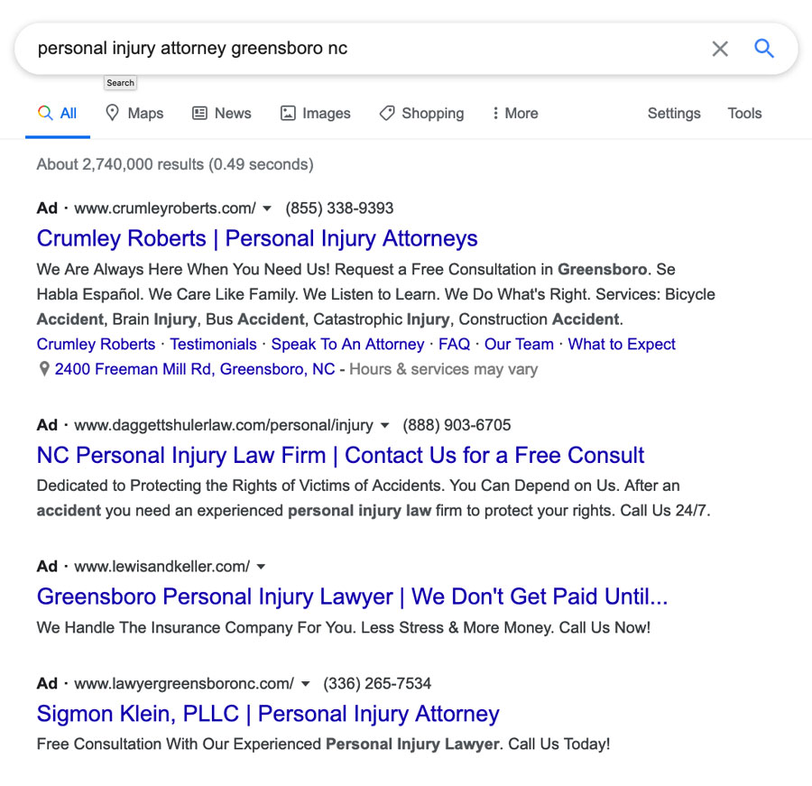 Example of Paid Search Using Google for Personal Injury Attorney Greensboro, NC
