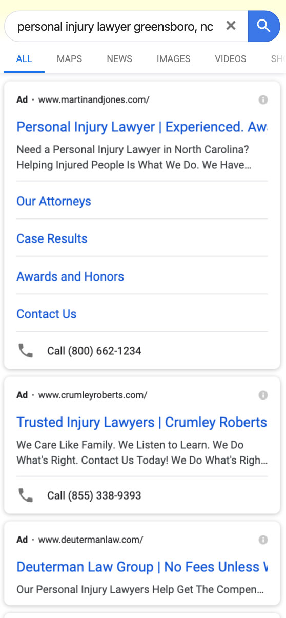 Example of Paid Search on Mobile Device Using Google for Personal Injury Attorney Greensboro, NC
