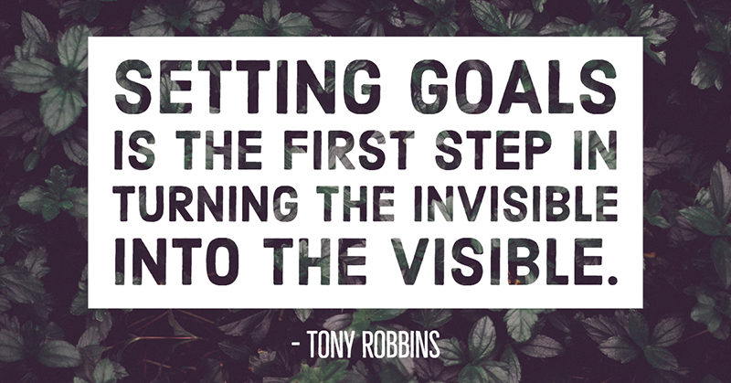 Setting goals is the first step in turning the invisible into the visible. -Tony Robbins