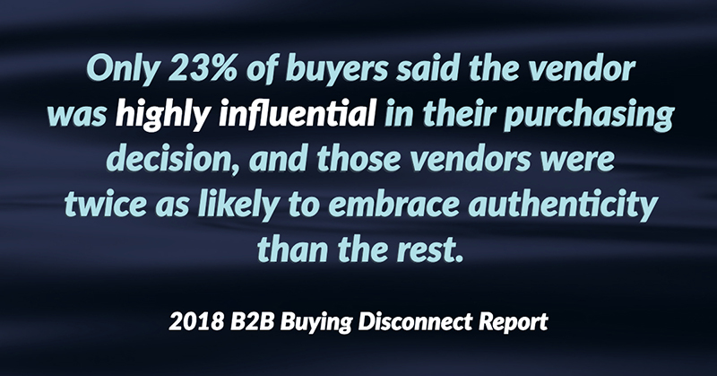 Only 23% of buyers said the vendor was highly influential in their purchasing decision, and those vendors were twice as likely to embrace authenticity than the rest. -2018 B2B Buying Disconnect Report